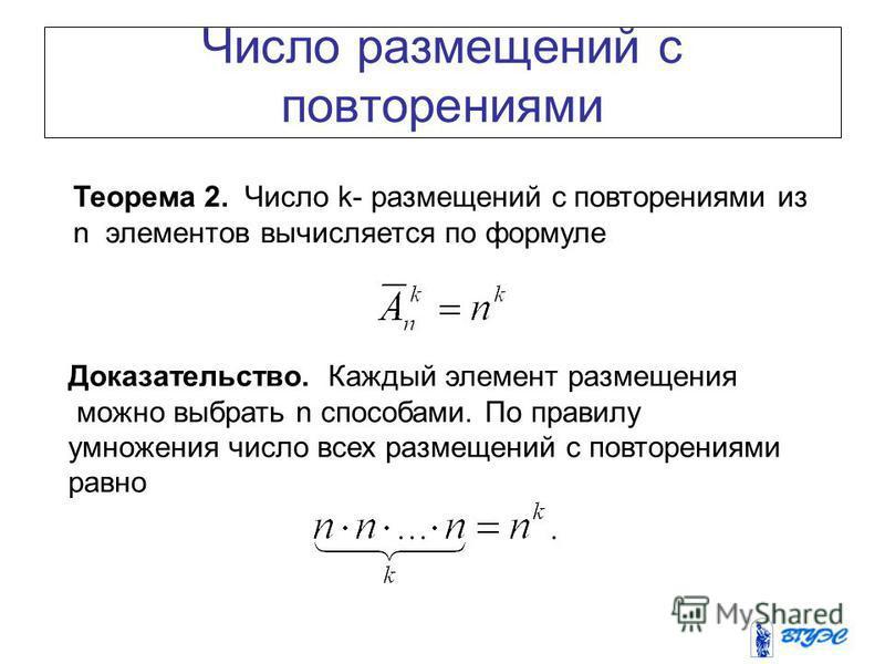 Число размещений с повторениями Теорема 2. Число k- размещений с повторениями из n элементов вычисляется по формуле Доказательство. Каждый элемент размещения можно выбрать n способами. По правилу умножения число всех размещений с повторениями равно