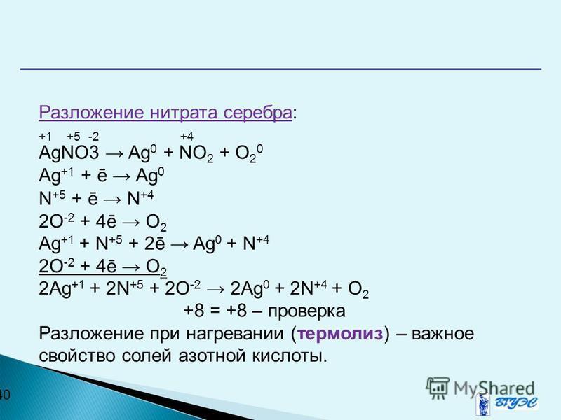 40 Разложение нитрата серебра: +1 +5 -2 +4 AgNO3 Ag 0 + NO 2 + O 2 0 Ag +1 + ē Ag 0 N +5 + ē N +4 2O -2 + 4ē O 2 Ag +1 + N +5 + 2ē Ag 0 + N +4 2O -2 + 4ē O 2 2Ag +1 + 2N +5 + 2O -2 2Ag 0 + 2N +4 + O 2 +8 = +8 – проверка Разложение при нагревании (тер