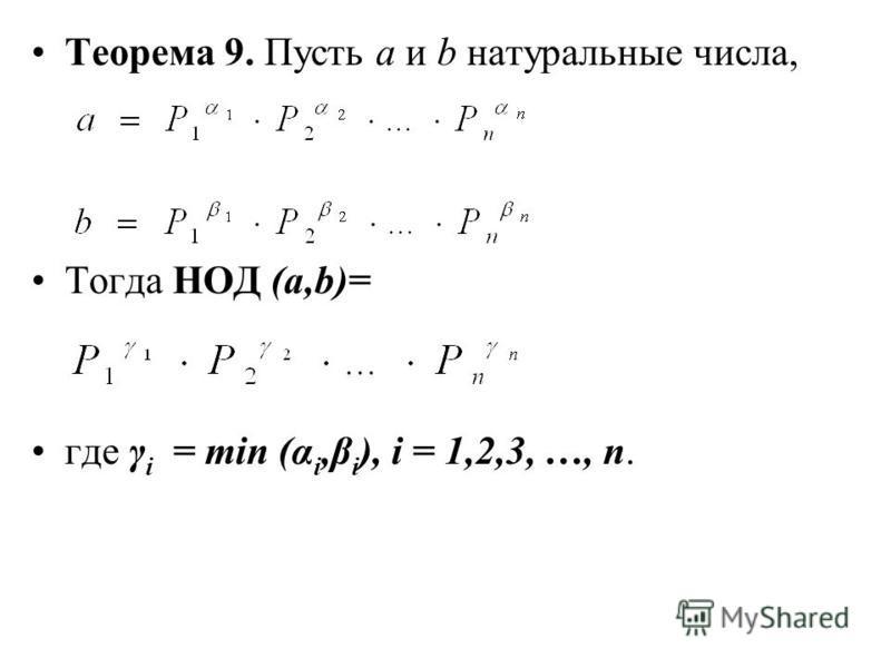 Теорема 9. Пусть а и b натуральные числа, Тогда НОД (а,b)= где γ i = min (α i,β i ), i = 1,2,3, …, n.