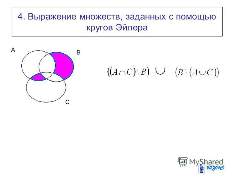 4. Выражение множеств, заданных с помощью кругов Эйлера A B C