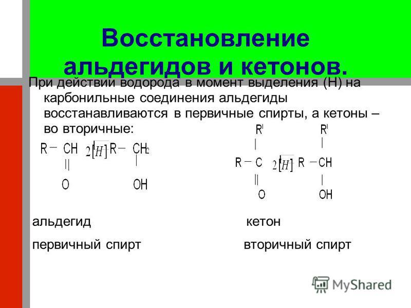 Восстановление альдегидов и кетонов. При действии водорода в момент выделения (H) на карбонильные соединения альдегиды восстанавливаются в первичные спирты, а кетоны – во вторичные: альдегид кетон первичный спирт вторичный спирт