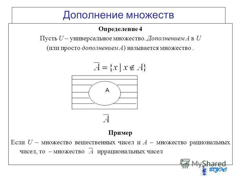 Дополнение множеств Определение 4 Пусть U – универсальное множество. Дополнением А в U (или просто дополнением А) называется множество. Пример Если U – множество вещественных чисел и А – множество рациональных чисел, то – множество иррациональных чис