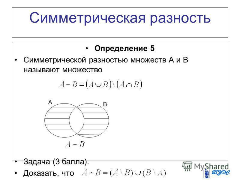 Симметрическая разность Определение 5 Симметрической разностью множеств A и B называют множество Задача (3 балла). Доказать, что A B