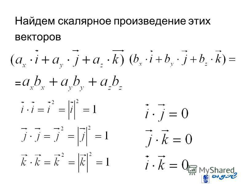 Найдем скалярное произведение этих векторов =