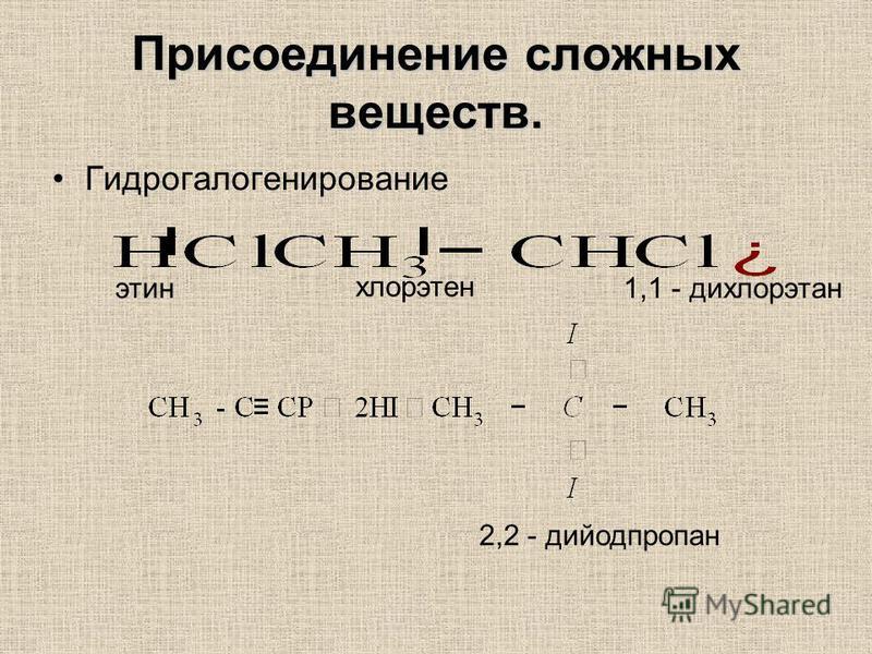 Присоединение сложных веществ. Гидрогалогенирование этин хлорэтен 1,1 - дихлорэтан 2,2 - дийодпропан