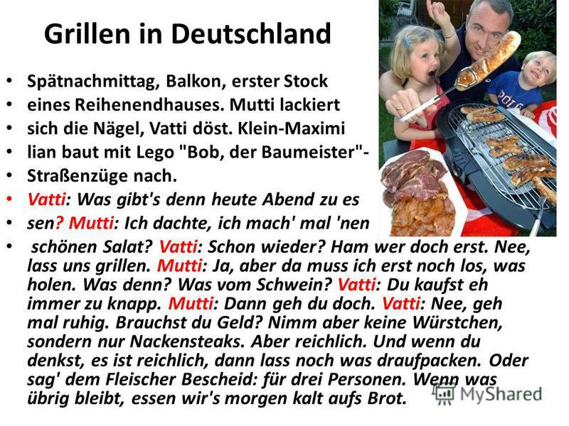 Grillen in Deutschland Spätnachmittag, Balkon, erster Stock eines Reihenendhauses. Mutti lackiert sich die Nägel, Vatti döst. Klein-Maximi lian baut mit Lego