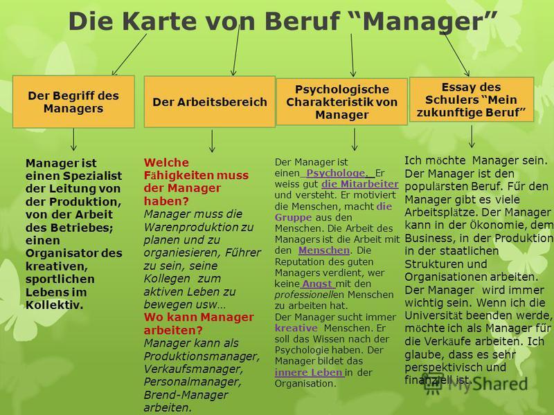 Die Karte von Beruf Manager Der Begriff des Managers Der Arbeitsbereich Psychologische Charakteristik von Manager Essay des Schulers Mein zukunftige Beruf Manager ist einen Spezialist der Leitung von der Produktion, von der Arbeit des Betriebes; eine
