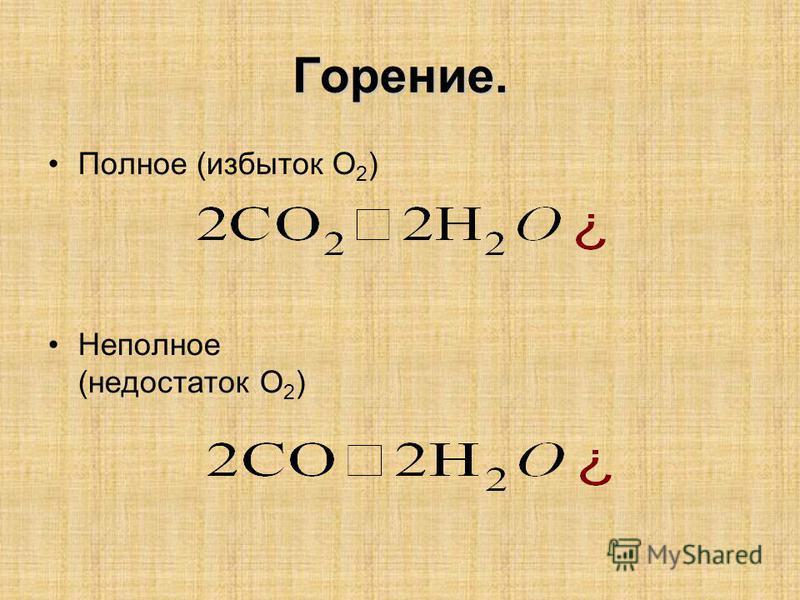 Горение. Полное (избыток О 2 ) Неполное (недостаток О 2 )