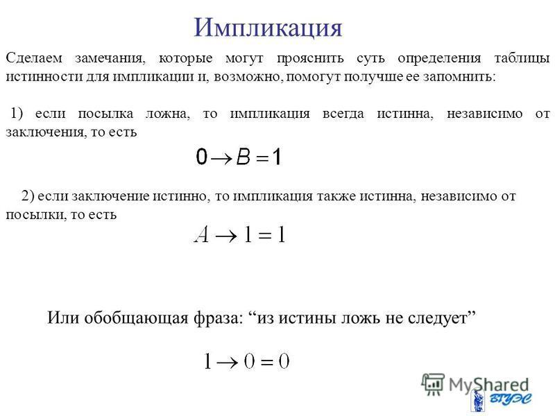 Задается импликация таблицей истинности: AB 001 011 100 111 Примеры 1. D=