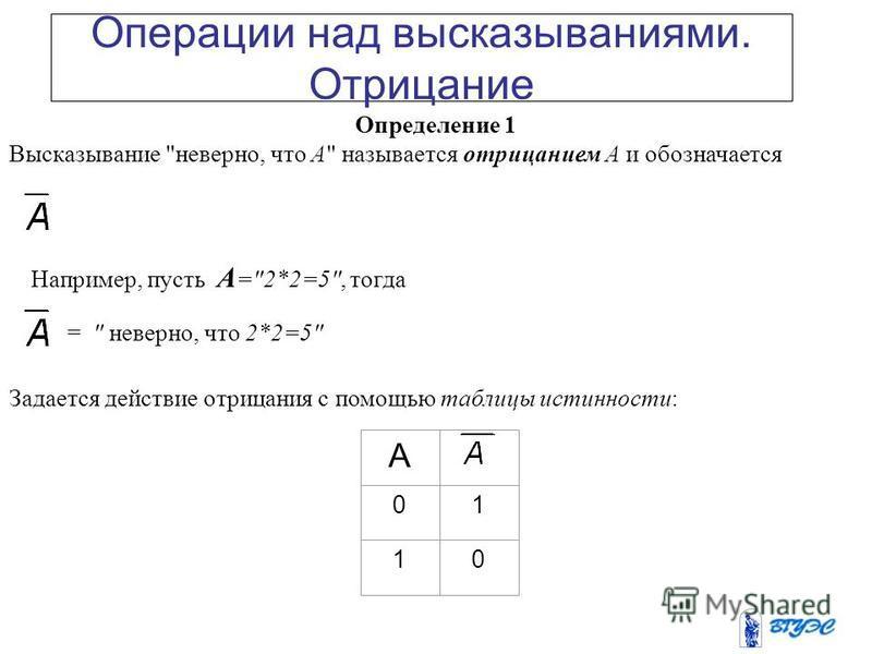 1. Основные понятия. Логические операции Под высказыванием мы понимаем предложение русского языка, о котором можно сказать, истинно оно или ложно. Высказывания мы будем обозначать заглавными буквами латинского алфавита, возможно с индексами: Если выс