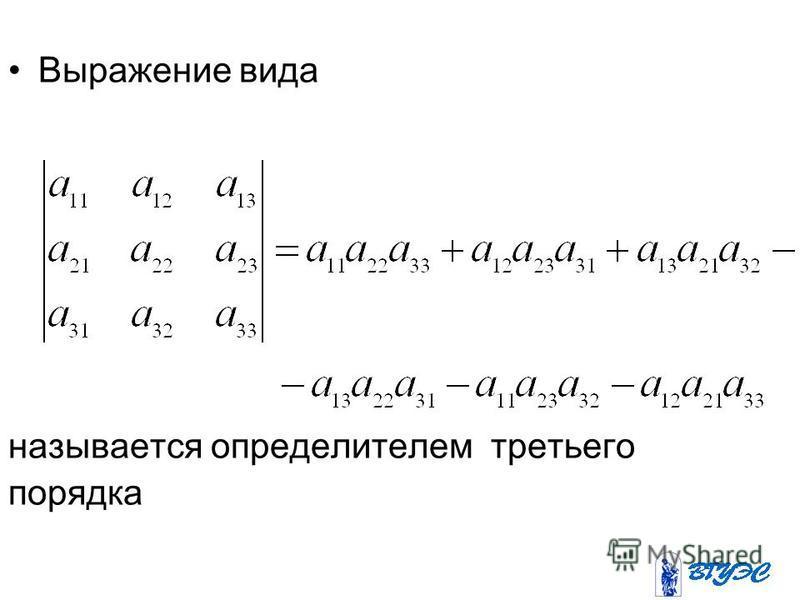 Выражение вида называется определителем третьего порядка