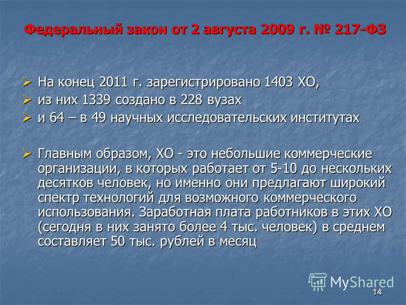 1414 На конец 2011 г. зарегистрировано 1403 ХО, На конец 2011 г. зарегистрировано 1403 ХО, из них 1339 создано в 228 вузах из них 1339 создано в 228 вузах и 64 – в 49 научных исследовательских институтах и 64 – в 49 научных исследовательских институт
