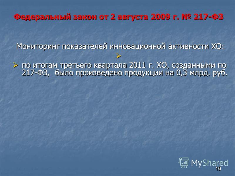 1616 Мониторинг показателей инновационной активности ХО: по итогам третьего квартала 2011 г. ХО, созданными по 217-ФЗ, было произведено продукции на 0,3 млрд. руб. по итогам третьего квартала 2011 г. ХО, созданными по 217-ФЗ, было произведено продукц