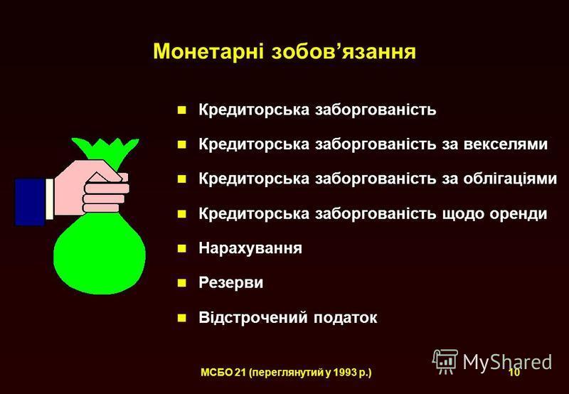 МСБО 21 (переглянутий у 1993 р.)10 Монетарні зобовязання Кредиторська заборгованість Кредиторська заборгованість за векселями Кредиторська заборгованість за облігаціями Кредиторська заборгованість щодо оренди Нарахування Резерви Відстрочений податок