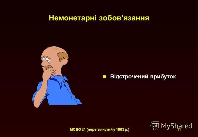 МСБО 21 (переглянутий у 1993 р.)11 Немонетарні зобов'язання Відстрочений прибуток