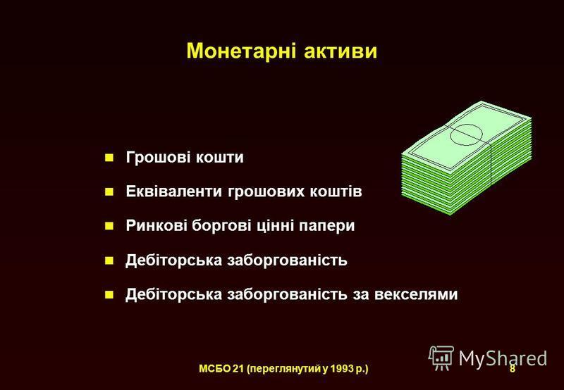 МСБО 21 (переглянутий у 1993 р.)8 Монетарні активи Грошові кошти Еквіваленти грошових коштів Ринкові боргові цінні папери Дебіторська заборгованість Дебіторська заборгованість за векселями