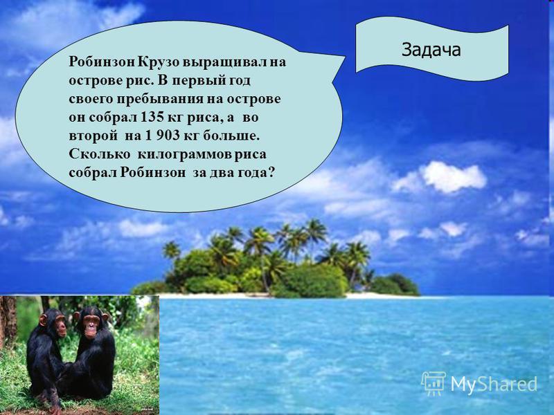 Задача Робинзон Крузо выращивал на острове рис. В первый год своего пребывания на острове он собрал 135 кг риса, а во второй на 1 903 кг больше. Сколько килограммов риса собрал Робинзон за два года?