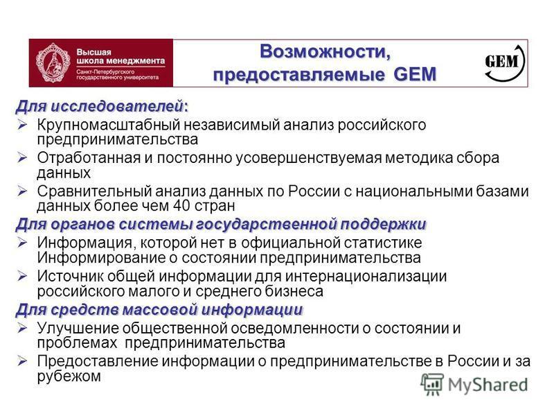 Возможности, предоставляемые GEM Для исследователей: Крупномасштабный независимый анализ российского предпринимательства Отработанная и постоянно усовершенствуемая методика сбора данных Сравнительный анализ данных по России с национальными базами дан