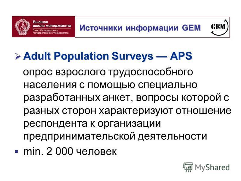 Adult Population Surveys APS Adult Population Surveys APS опрос взрослого трудоспособного населения с помощью специально разработанных анкет, вопросы которой с разных сторон характеризуют отношение респондента к организации предпринимательской деятел