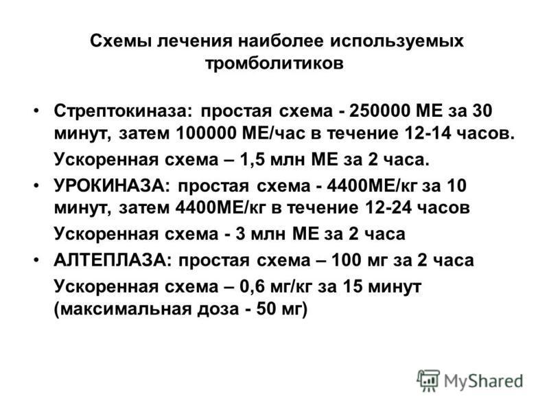 Схемы лечения наиболее используемых тромболитиков Стрептокиназа: простая схема - 250000 МЕ за 30 минут, затем 100000 МЕ/час в течение 12-14 часов. Ускоренная схема – 1,5 млн МЕ за 2 часа. УРОКИНАЗА: простая схема - 4400МЕ/кг за 10 минут, затем 4400МЕ