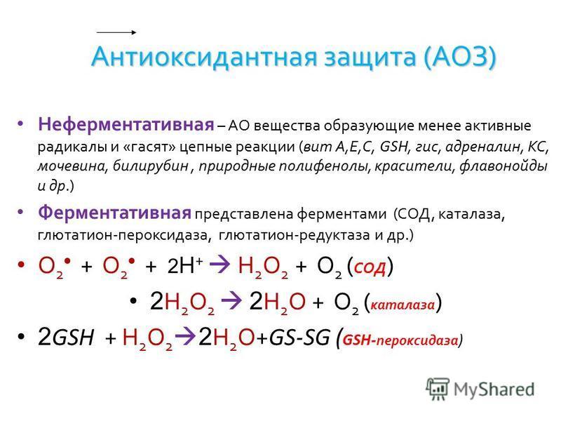 Антиоксидантная защита (АОЗ) Неферментативная – АО вещества образующие менее активные радикалы и «гасят» цепные реакции (вит А,Е,С, GSH, гис, адреналин, КС, мочевина, билирубин, природные полифенолы, красители, флавоноиды и др.) Ферментативная предст
