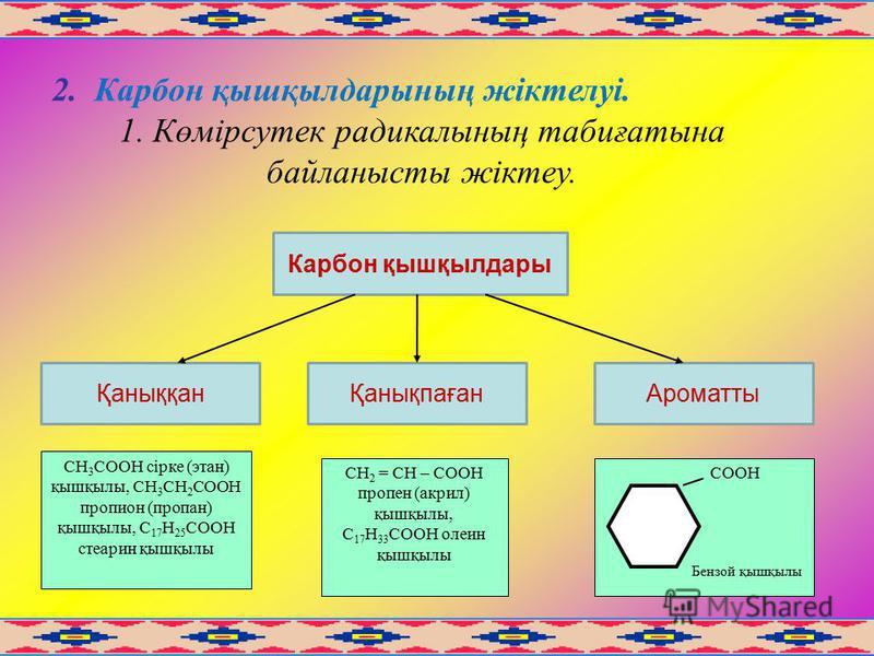 2. Карбон қышқылдарының жіктелуі. 1. Көмірсутек радикалының табиғатына байланысты жіктеу. Карбон қышқылдары АроматтыҚаныққанҚанықпаған СН 3 СООН сірке (этан) қышқылы, СН 3 СН 2 СООН пропион (пропан) қышқылы, С 17 Н 25 СООН стеарин қышқылы СН 2 = СН –