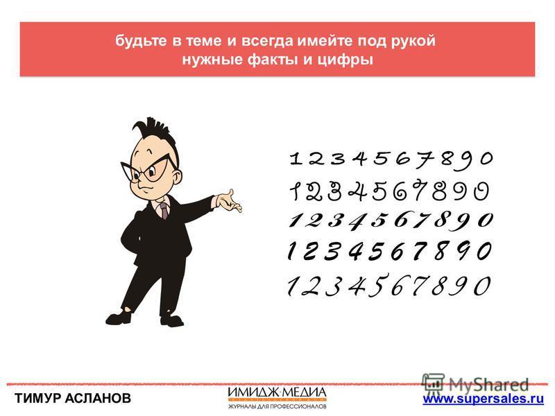 ТИМУР АСЛАНОВwww.supersales.ru будьте в теме и всегда имейте под рукой нужные факты и цифры
