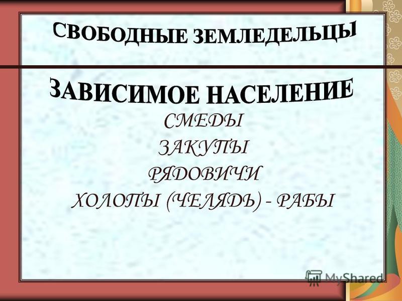 СМЕДЫ ЗАКУПЫ РЯДОВИЧИ ХОЛОПЫ (ЧЕЛЯДЬ) - РАБЫ