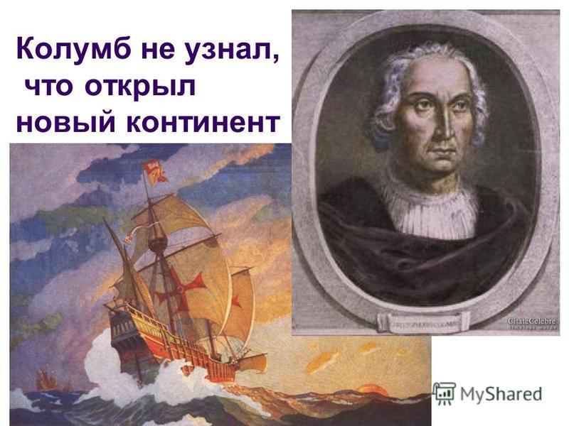 Колумб не узнал, что открыл новый континент