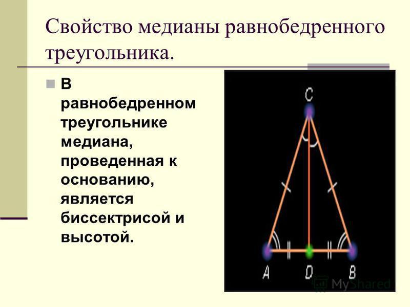 Дано: Доказательство: АВС, АС=СВ. Доказать: <А=<В 1) СД – биссектриса АВС. 2) АСД=ДСВ ( по 1 признаку равенства треугольников, АС=СВ, СД – общая сторона, <АСД=<ДСВ). 3) Следовательно <А=<В. ( в равных треугольниках против равных сторон лежат равные у