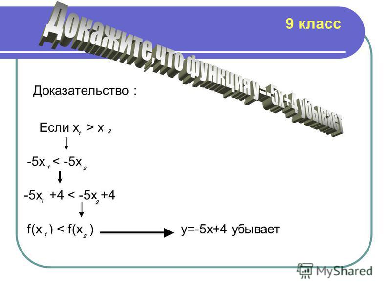 Доказательство : Если х > x -5x < -5x -5x +4 < -5x +4 f(x ) < f(x )y=-5x+4 убывает 9 класс