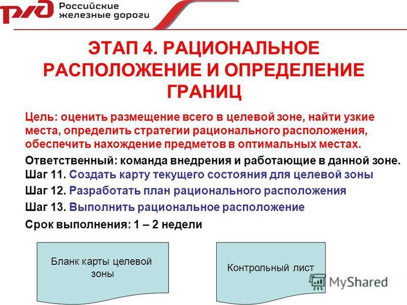 ЭТАП 4. РАЦИОНАЛЬНОЕ РАСПОЛОЖЕНИЕ И ОПРЕДЕЛЕНИЕ ГРАНИЦ Шаг 11. Создать карту текущего состояния для целевой зоны Шаг 12. Разработать план рационального расположения Шаг 13. Выполнить рациональное расположение Ответственный: команда внедрения и работа