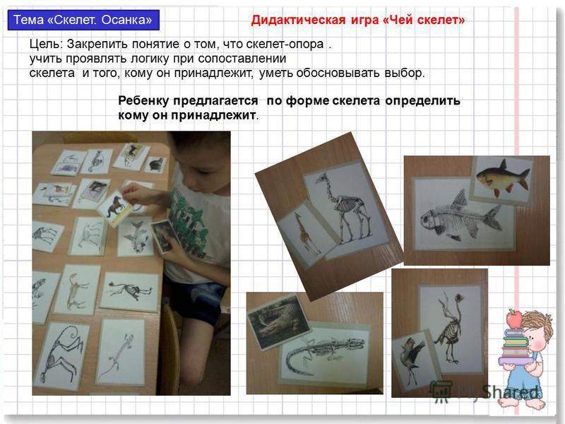 Тема «Скелет. Осанка» Дидактическая игра «Чей скелет» Цель: Закрепить понятие о том, что скелет-опора. учить проявлять логику при сопоставлении скелета и того, кому он принадлежит, уметь обосновывать выбор. Ребенку предлагается по форме скелета опред