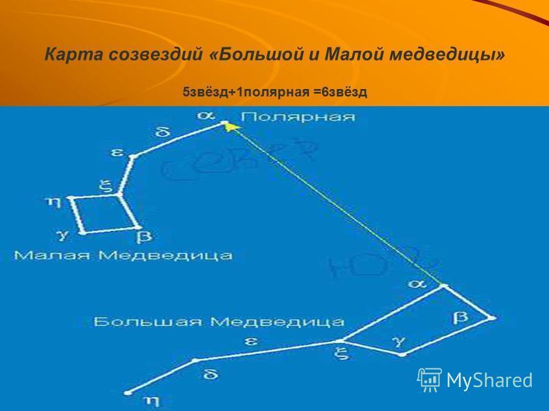 Карта созвездий «Большой и Малой медведицы» 5 звёзд+1 полярная =6 звёзд