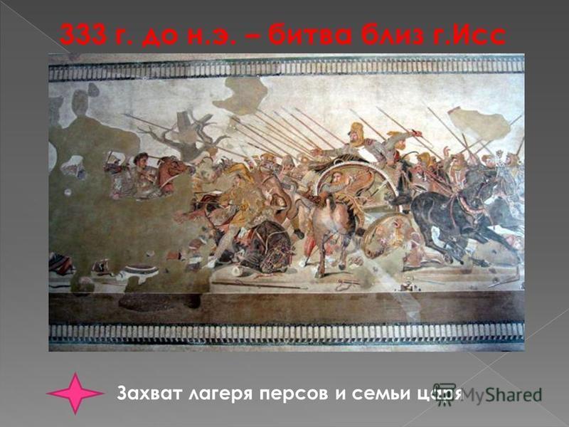 333 г. до н.э. – битва близ г.Исс Захват лагеря персов и семьи царя