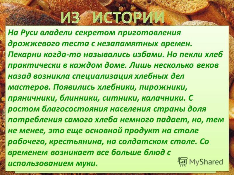 Ученые полагают, что хлебу свыше 15 тысяч лет, его знали уже в Неолите. Правда, хлеб в те давние времена мало чем напоминал нынешний. Первый хлеб представлял собой подобие запечёной кашицы, приготовленной из крупы и воды, а также мог стать результато
