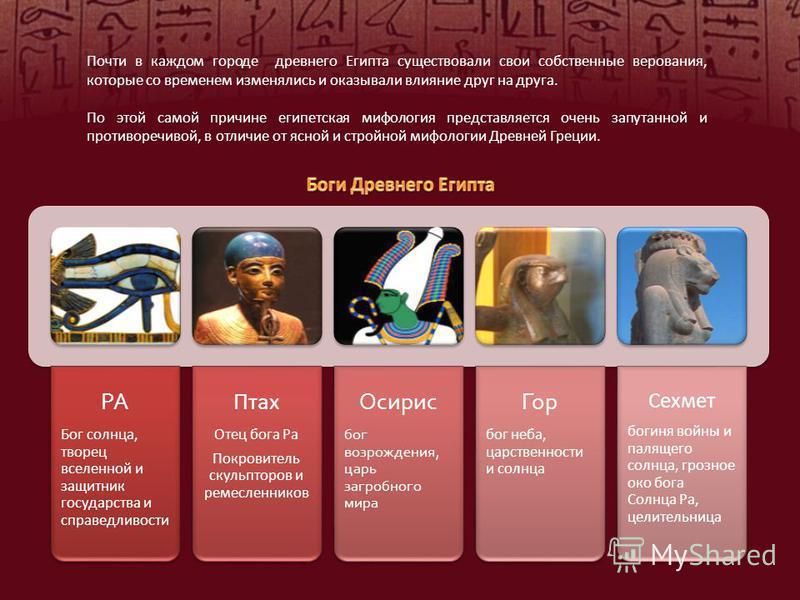 Почти в каждом городе древнего Египта существовали свои собственные верования, которые со временем изменялись и оказывали влияние друг на друга. По этой самой причине египетская мифология представляется очень запутанной и противоречивой, в отличие от