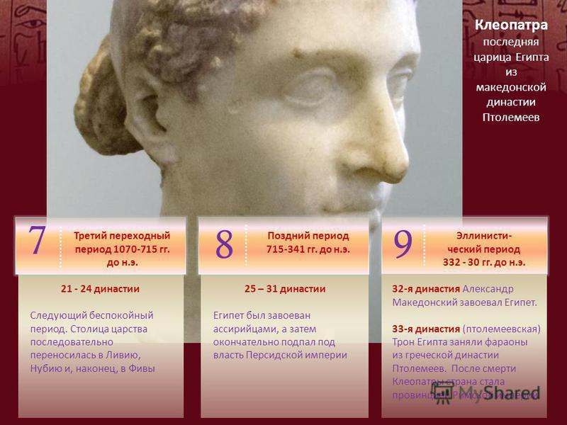 Клеопатра последняя царица Египта из македонской династии Птолемеев 89 7 Третий переходный период 1070-715 гг. до н.э. 21 - 24 династии Следующий беспокойный период. Столица царства последовательно переносилась в Ливию, Нубию и, наконец, в Фивы Поздн