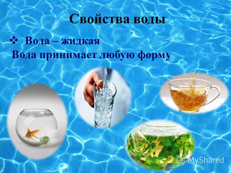 Свойства воды В ода – жидкая Вода принимает любую форму