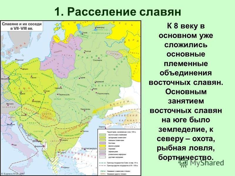 К 8 веку в основном уже сложились основные племенные объединения восточных славян. Основным занятием восточных славян на юге было земледелие, к северу – охота, рыбная ловля, бортничество.