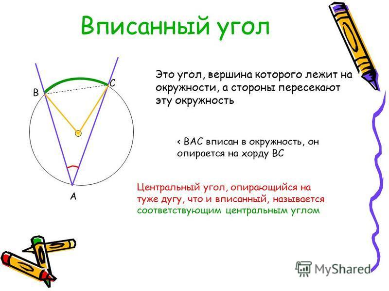 Вписанный угол Это угол, вершина которого лежит на окружности, а стороны пересекают эту окружность А В С < ВАС вписан в окружность, он опирается на хорду ВС Центральный угол, опирающийся на туже дугу, что и вписанный, называется соответствующим центр