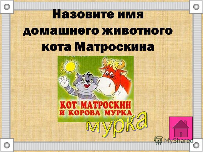 Назовите имя домашнего животного кота Матроскина