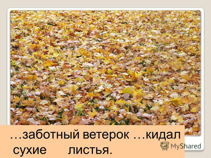 …работный ветерок …кидал сухие листья.