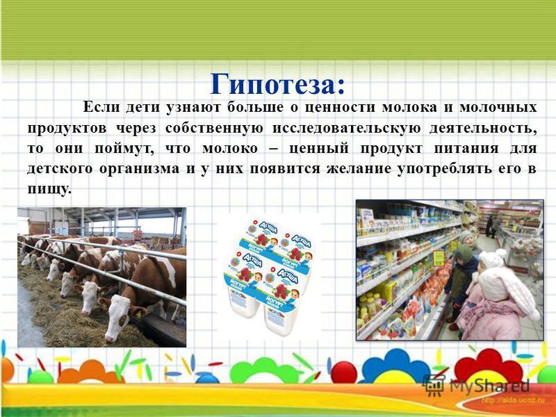 Если дети узнают больше о ценности молока и молочных продуктов через собственную исследовательскую деятельность, то они поймут, что молоко – ценный продукт питания для детского организма и у них появится желание употреблять его в пищу. Гипотеза: