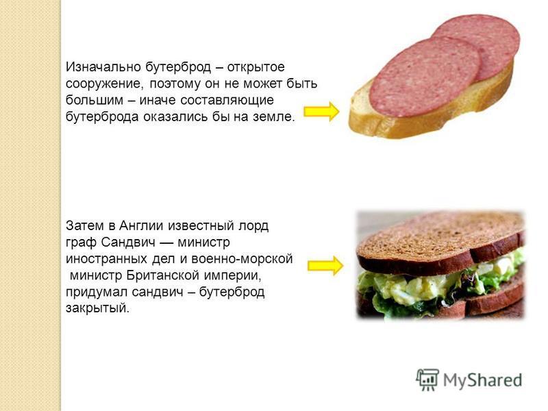 Итак. Бутерброд – это кусок хлеба с маслом, на который кладут мясо, колбасу, сыр, рыбу (продолжать до полного исчерпания фантазии), а сверху прикрывают зеленью (петрушка, укроп, листья салата) или овощами (помидор, огурец и т.д.).