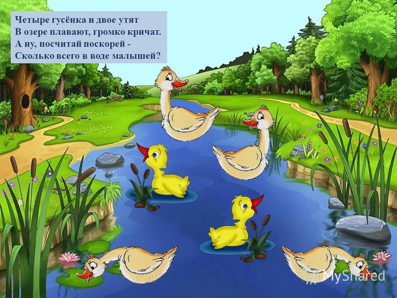 Четыре гусёнка и двое утят В озере плавают, громко кричат. А ну, посчитай поскорей - Сколько всего в воде малышей?