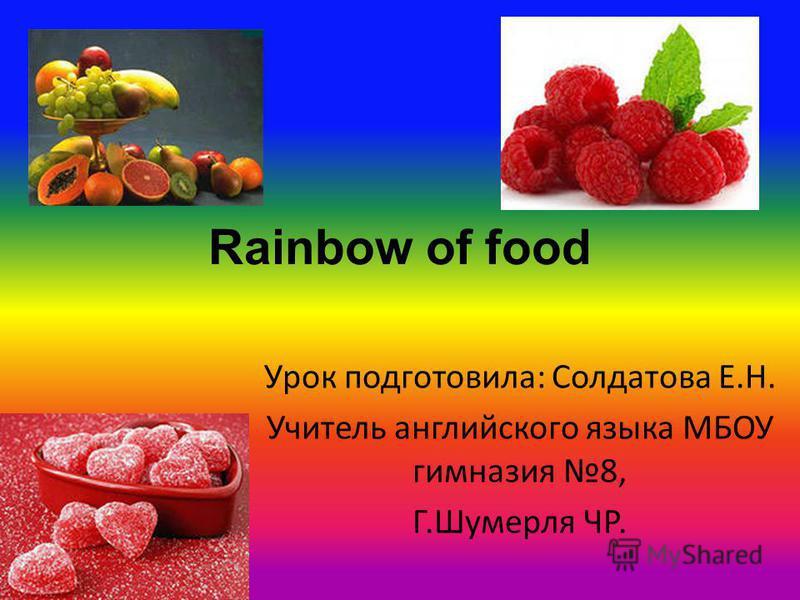 Rainbow of food Урок подготовила: Солдатова Е.Н. Учитель английского языка МБОУ гимназия 8, Г.Шумерля ЧР.