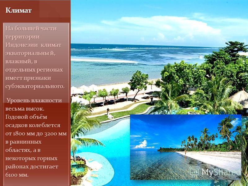 На большей части территории Индонезии климат экваториальный, влажный, в отдельных регионах имеет признаки субэкваториального. Уровень влажности весьма высок. Годовой объём осадков колеблется от 1800 мм до 3200 мм в равнинных областях, а в некоторых г