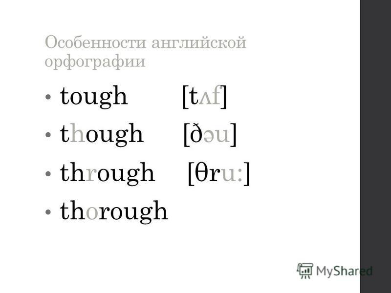 Особенности английской орфографии tough [t ʌ f] though [ð ə u] through [θru:] thorough