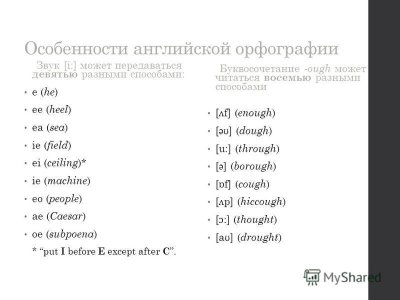 Звук [i:] может передаваться девятью разными способами: e ( he ) ee ( heel ) ea ( sea ) ie ( field ) ei ( ceiling )* ie ( machine ) eo ( people ) ae ( Caesar ) oe ( subpoena ) * put I before E except after C. Буквосочетание -ough может читаться восем